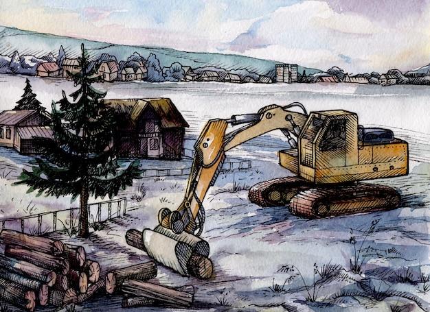 Aquarelle excavatrice machine dans la cour