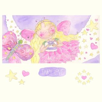 Aquarelle fairy girl