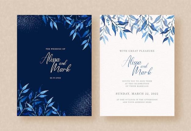 Aquarelle de feuilles bleues exotiques avec sombre sur carte d'invitation de mariage