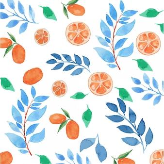 Aquarelle feuilles bleues et oranges floral seamless pattern