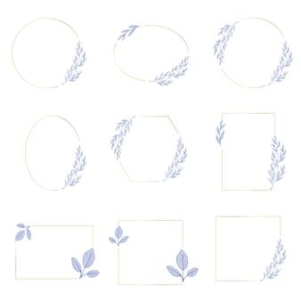 Aquarelle feuilles bleues violettes avec collection de cadres de guirlande dorée