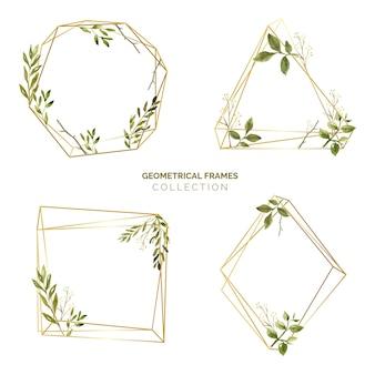 Aquarelle feuilles cadre ensemble