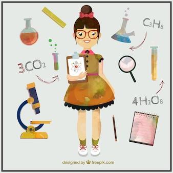 Aquarelle fille étudie la science