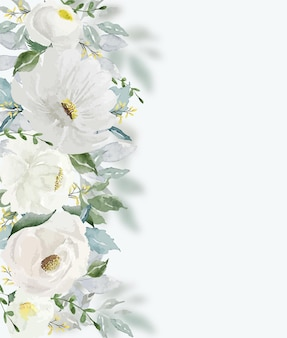 Aquarelle fleur blanche vintage et feuilles vertes belles pour la décoration d'art