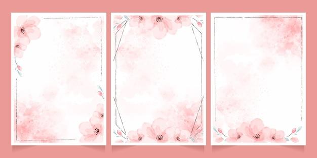Aquarelle de fleur de cerisier avec collection de modèles de cartes d'invitation cadre marron
