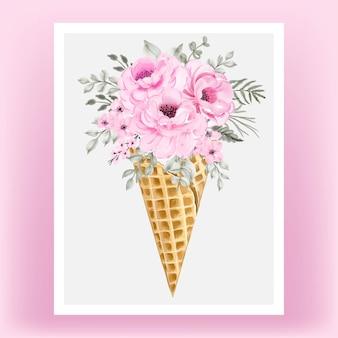 Aquarelle fleur rose sur cornet de glace