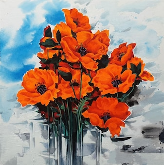 Aquarelle fleur en vase bouquet peinture colorée
