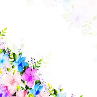 L'aquarelle fleurit le fond pour la carte d'accueil ou d'invitation.