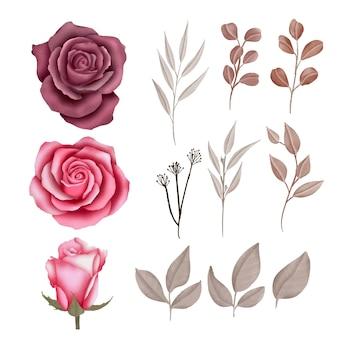 Aquarelle fleurs et éléments de feuilles