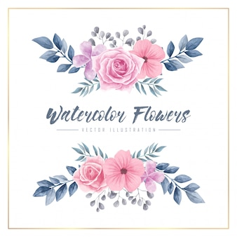 Aquarelle fleurs floral frame vector illustration