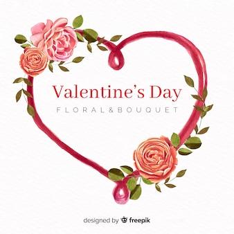 Aquarelle fleurs fond saint-valentin