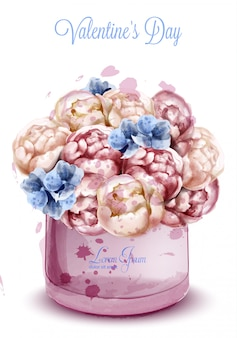Aquarelle de fleurs de pivoines colorées