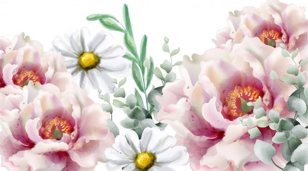Aquarelle de fleurs de printemps