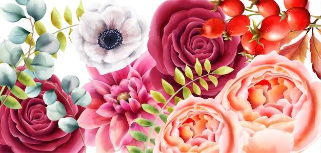 Aquarelle fleurs roses, baies et feuilles