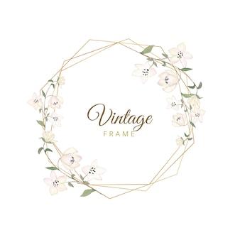 Aquarelle floral cadre vintage avec bordure dorée