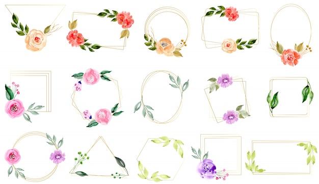 Aquarelle floral avec la collection de cadre doré