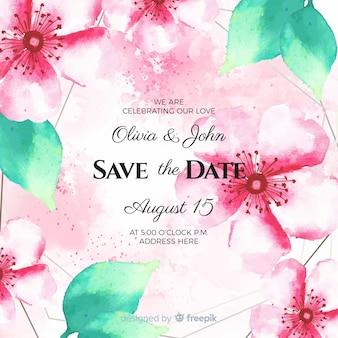 Aquarelle floral enregistrer le modèle de date