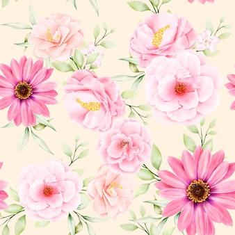 Aquarelle floral et feuilles modèle sans couture
