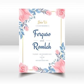 Aquarelle floral invitation de mariage cadre doré