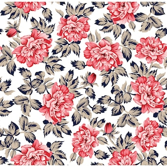 Aquarelle floral leaves seamless pattern