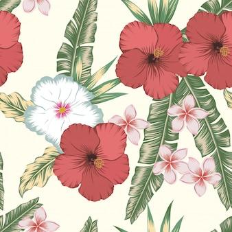 Aquarelle floral leaves seamless pattern