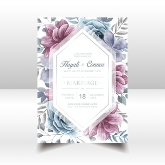 Aquarelle floral mariage invitation cadre doré