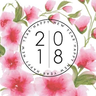 Aquarelle Floral Nouvel An 2018 Vecteur gratuit