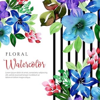 Aquarelle floral rayure noire