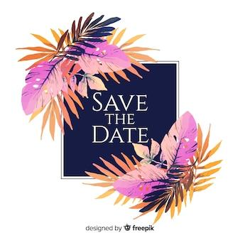 Aquarelle floral réserver la date