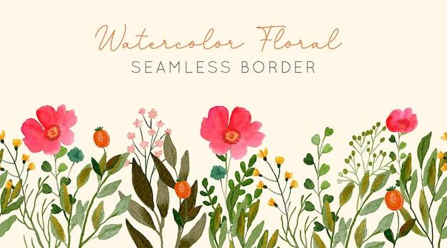 Aquarelle floral seamless border anémone pin rouge et fleurs sauvages jaune