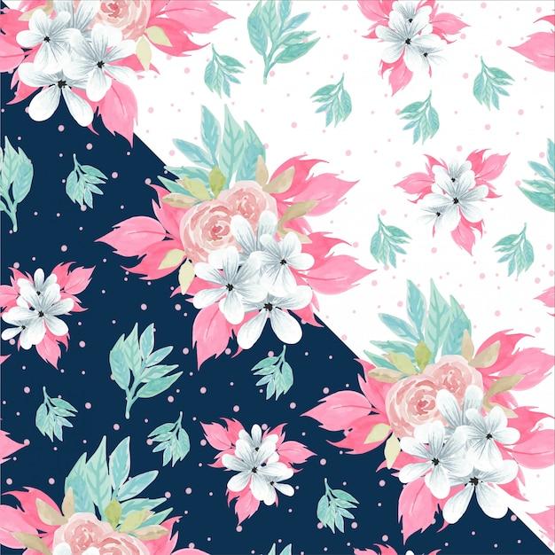 Aquarelle floral seamless pattern avec de belles roses roses