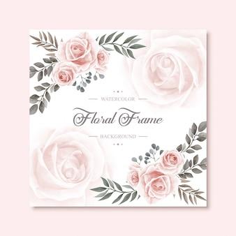 Aquarelle floral vintage frame multipurpose