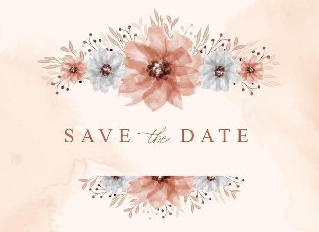 Aquarelle florale de bouquet de belle décoration enregistrer la date