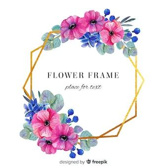 Aquarelle florale dans un cadre doré géométrique