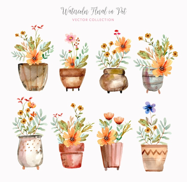 Aquarelle florale dans la collection de vecteurs de pot