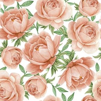 Aquarelle florale transparente motif pivoines élégantes rose antique