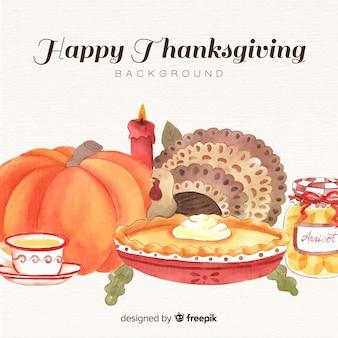 Aquarelle fond de bonne fête de thanksgiving