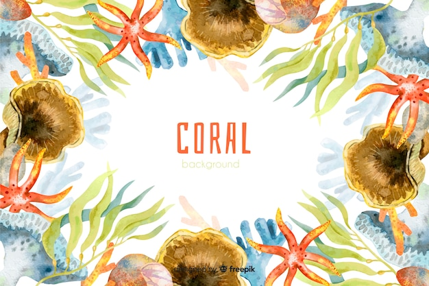 Aquarelle fond de corail coloré