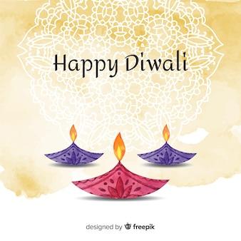 Aquarelle fond de diwali avec des bougies