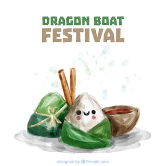 Aquarelle, fond, dragon, bateau, festival