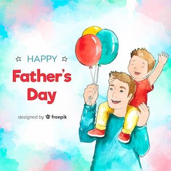 Aquarelle fond de fête des pères