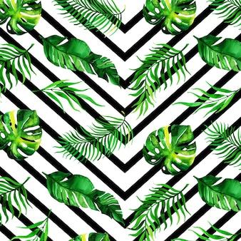 Aquarelle fond de feuilles tropicales