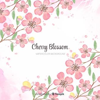 Aquarelle fond de fleurs de cerisier