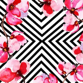 Aquarelle fond floral avec des rayures