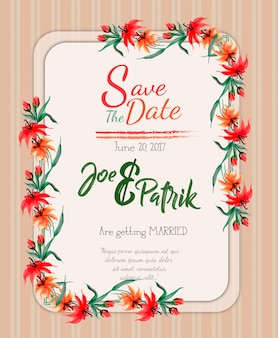 Aquarelle fond floral de carte d'invitation de mariage