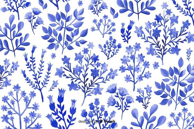 Aquarelle fond floral monochromatique