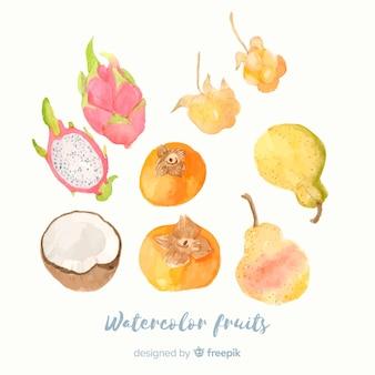 Aquarelle fond de fruits et légumes