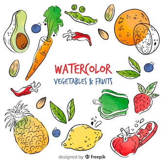 Aquarelle fond de fruits et légumes