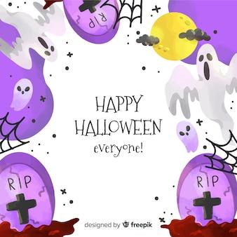 Aquarelle fond d'halloween avec des pierres tombales violettes