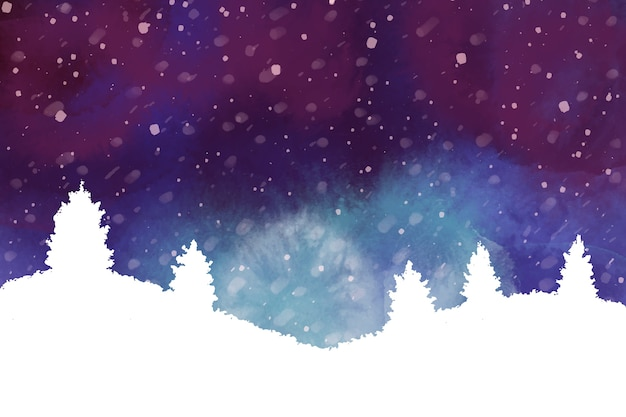Aquarelle fond d'hiver